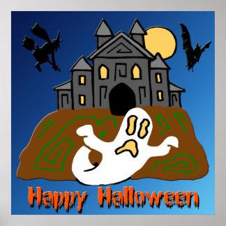 Poster de Halloween del fantasma de la casa encant
