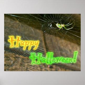 Poster de Halloween del tejedor del orbe de Leucau