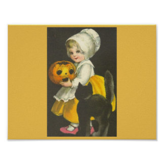 Poster de Halloween del vintage del gato negro de