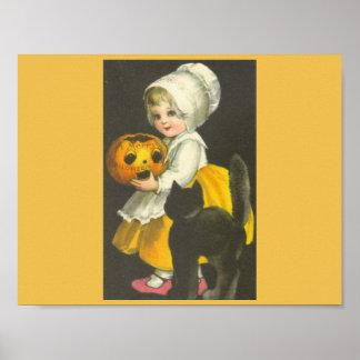 Poster de Halloween del vintage del gato negro de Póster