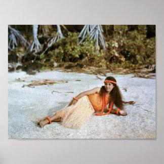 POSTER de Hawaii: Chica de Hula hawaiano 1910