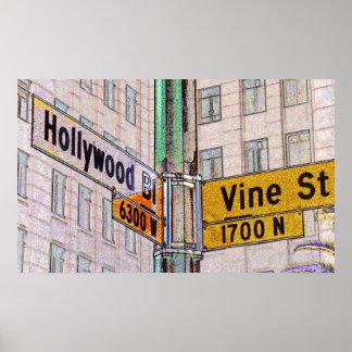 Poster de Hollywood y de la vid Póster