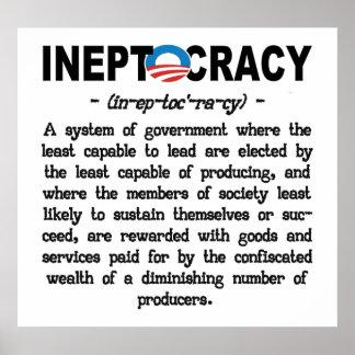Poster de Ineptocracy de la administración de Obam