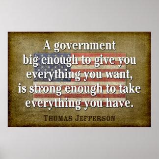 Poster de Jefferson: Cita grande del gobierno
