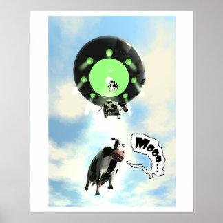 Poster de la abducción de la vaca del UFO