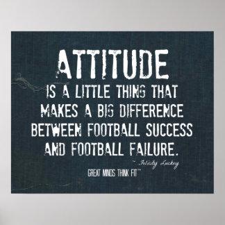 Poster de la actitud del fútbol en dril de algodón