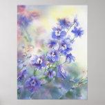 Poster de la acuarela de la flor del delphinium az