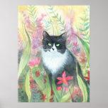 Poster de la acuarela del gato del smoking