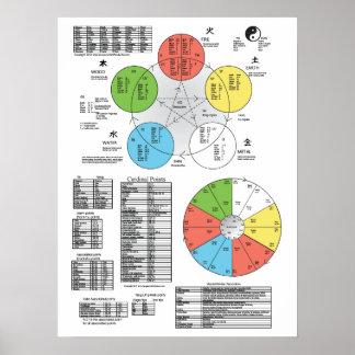 Poster de la acupuntura del elemento del color póster