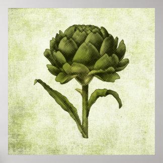 Poster de la alcachofa del vintage