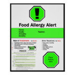 Poster de la alergia alimentaria para la escuela