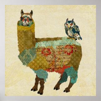 Poster de la alpaca y del búho