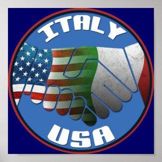 Poster de la amistad de Italia los E.E.U.U.