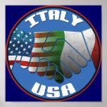 Poster de la amistad de Italia los E.E.U.U. Póster