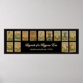 Poster de la antigüedad de la tarjeta de béisbol d póster