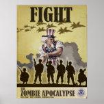 Poster de la apocalipsis del zombi de la lucha