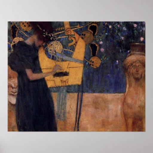 Poster de la arpa de la música de Klimt