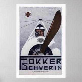 Poster de la aviación de Schwerin WW1 de Fokker -