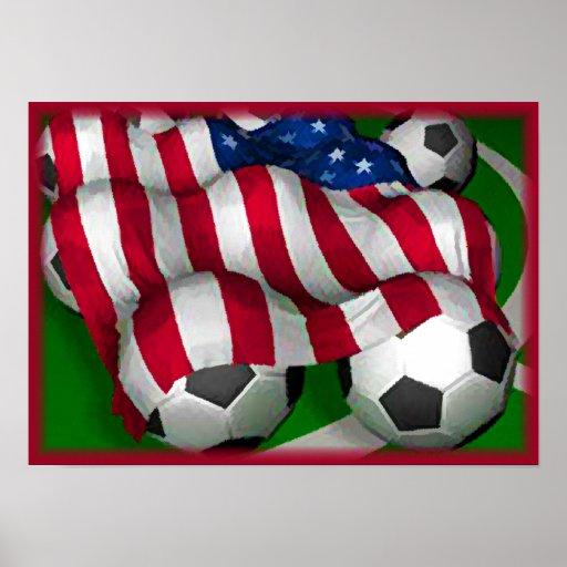Poster de la bandera americana y del fútbol