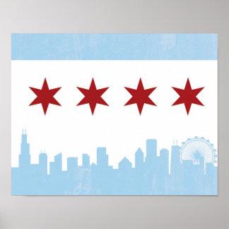 Poster de la bandera de Chicago del vintage