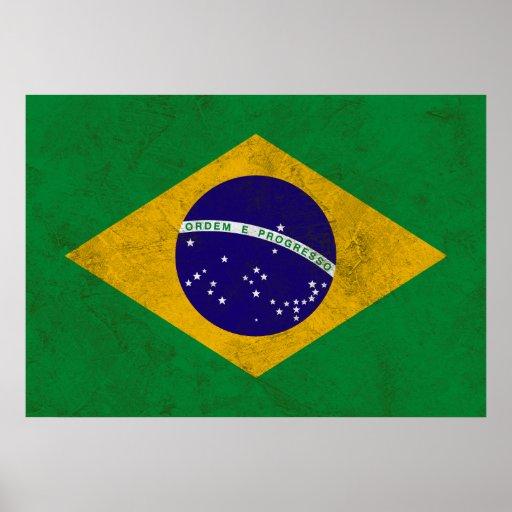 Poster de la bandera del vintage del Brasil