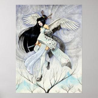Poster de la bella arte de Ninja del geisha de la