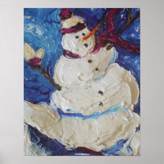 Poster de la bella arte del muñeco de nieve del in