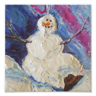 Poster de la bella arte del navidad del muñeco de  cojinete
