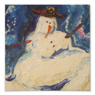 Poster de la bella arte del navidad del muñeco de  arte con fotos