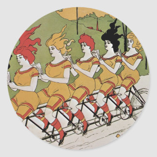 Poster de la bicicleta de los transportes etiqueta redonda