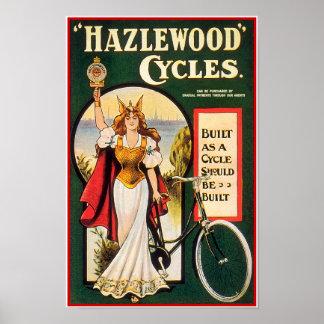 Poster de la bicicleta del vintage: Ciclos de Hazl