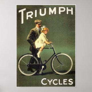 Poster de la bicicleta del vintage:  Ciclos de Tri
