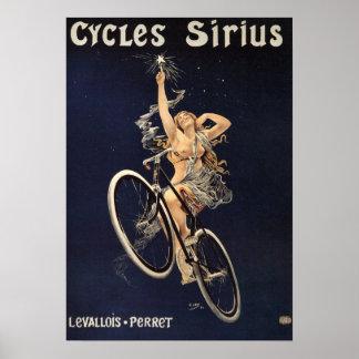 Poster de la bicicleta del vintage - ciclos Sirius