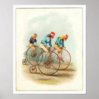 Poster de la bicicleta del vintage, gallos de Penn