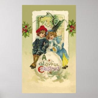 Poster de la bola de nieve del navidad del vintage