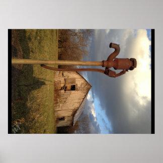 Poster de la bomba del granero y de agua