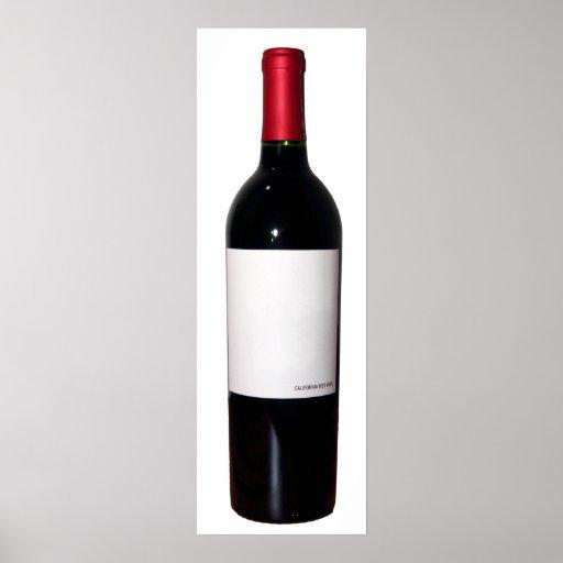 Poster de la botella de vino (etiqueta en blanco)