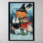 Poster de la bruja de la calabaza de Halloween