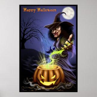 Poster de la bruja del feliz Halloween