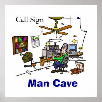 Poster de la cabaña de la cueva del hombre del equ