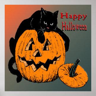 Poster de la calabaza del gato negro