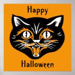 Poster de la cara del gato del vintage de Hallowee
