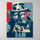 Poster de la careta antigás del tío Sam