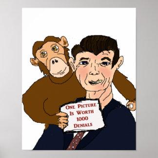 Poster de la caricatura de Ronald Reagan