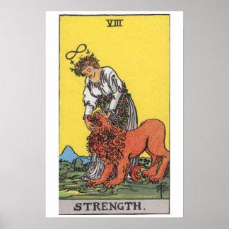 Poster de la carta de tarot de la fuerza