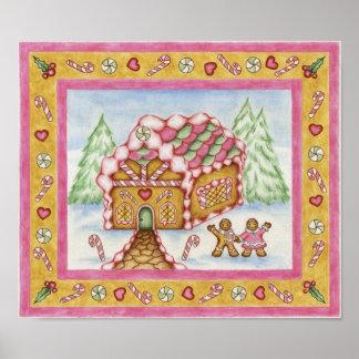 Poster de la casa del corazón del pan de jengibre