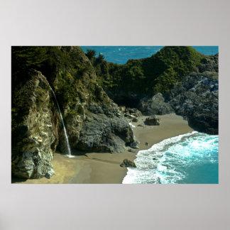 Poster de la cascada de la costa de California