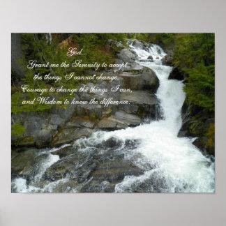 Poster de la cascada del bosque del rezo de la