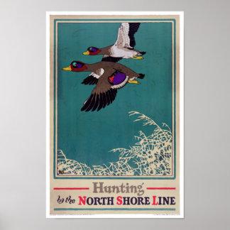 Poster de la caza del vintage restaurado póster