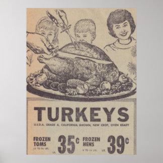 Poster de la cena de la familia del vintage